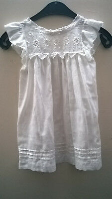 Beautiful hand made antique embroidered cotton lawn childs  dress early 1900's