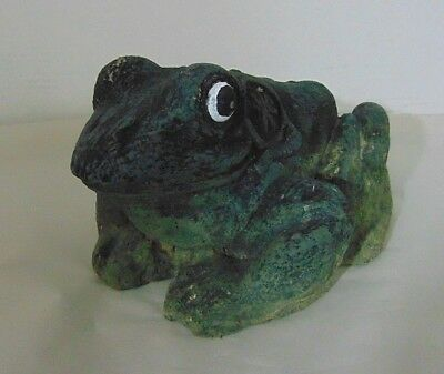 Vintage Cement Concrete Frog Garden Art Decor Statue Concrete Aged Patina Toad