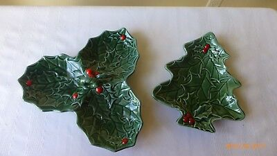 VTG Lefton China Holly Berries Christmas Tree Candy Dish Relish Tray Set of 2