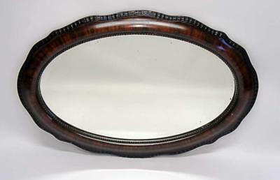 Large Edwardian decorative oval bevel edged overmantle mirror 83 x 55 cm  VGC
