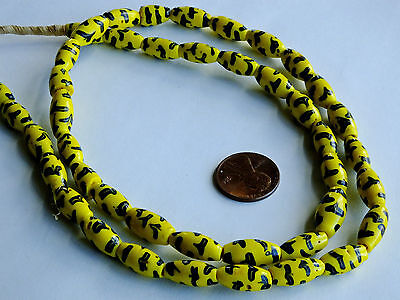 Beautiful Late 1800's Venetian Fancy Trade Beads Yellow With Black Fancy Feather