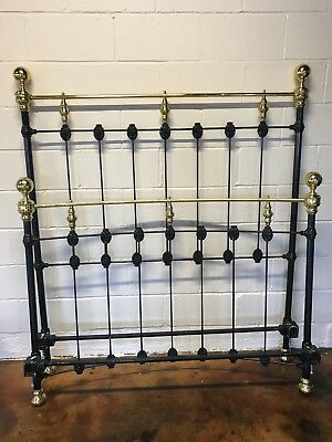Wrought iron bed frame Black and Brass Full Size with side rails. Vintage.