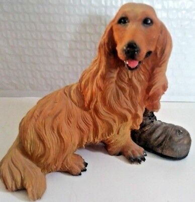 Red Longhaired Dachshund Dog with Boot Figurine Statue