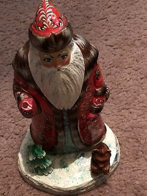 Retired Vintage Russian Wood Carved Santa! Hand Painted! Large!