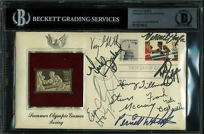 1984 Summer Olympics (9) Holyfield +8 Signed Boxing First Day Cover BAS Slab