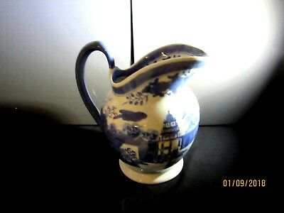 Chinese Oriental Blue and White Large Antique Vintage Pitcher