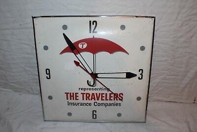 "Vintage 1960's The Travelers Car Insurance Gas Oil 15"" Pam Clock Sign~Works"