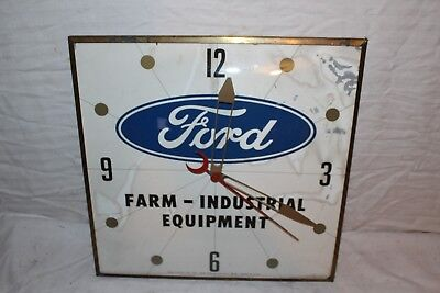 "Vintage 1962 Ford Tractors Farm Equipment Gas Oil 15"" Pam Clock Sign~Works"