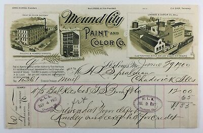 Mound City Paint and Color Company Antique Illustrated Billhead St Louis Mo 1900