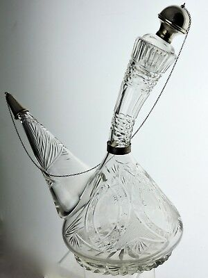 Antique Cut Glass Or Crystal Porron Decanter Sterling Silver Stopper/chain Rare