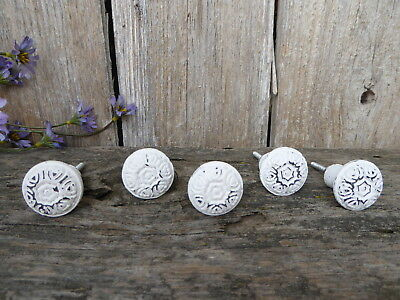 Distressed White Floral Hearts Cast Iron Metal Knob Drawer Pull French Romantic