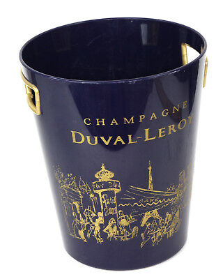 DUVAL-LEROY Champagne French Ice Bucket Blue Plastic Paris Cafe Scene