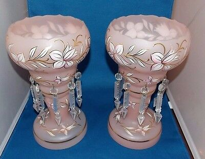 Pair of Stunning Antique Pink Lusters, Beautiful Flower Work 10.25""