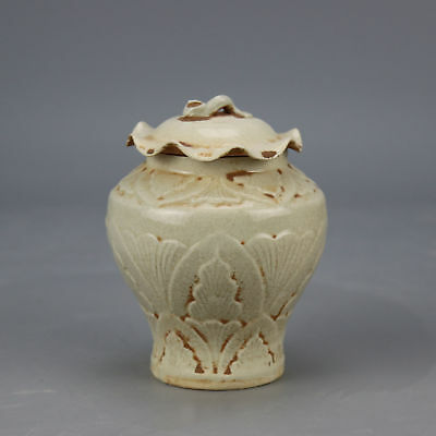China old hand-carved porcelain flower pattern lotus leaf form Cover pot