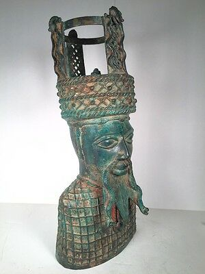 Large Unique Vintage Asian Lord Bust or Statue      * BRASS *
