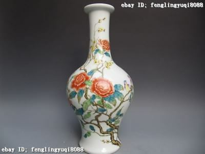 17 Chinese Regius Pottery WuCai porcelain portray Flowers and Bird Bottle Vase