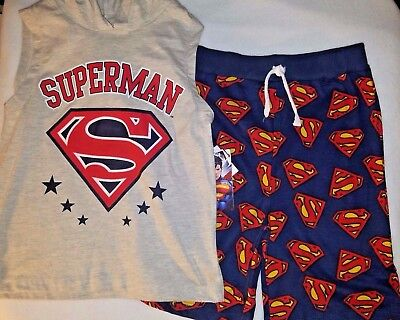 DC Comics Boys Superman 2 Piece Set - NWT - Hooded Muscle Shirt & Logo Short (F3