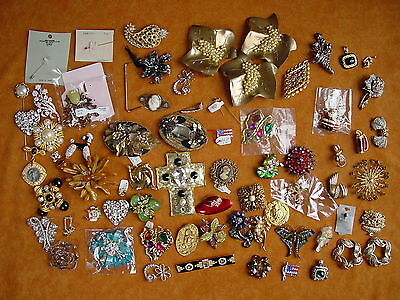 Lot of Vintage costume fashion jewelry pins brooches broken parts rhinestones