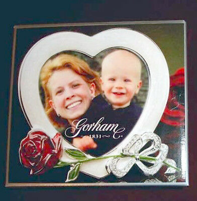 Gorham Heart-Shape Small Picture Frame Sculpted Red Rose & Bow New