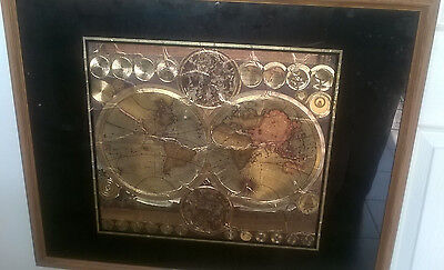 """Framed World Map Old World Double View in Solid Oak Wood 1615 - 1715 24"""" X 30"""""""