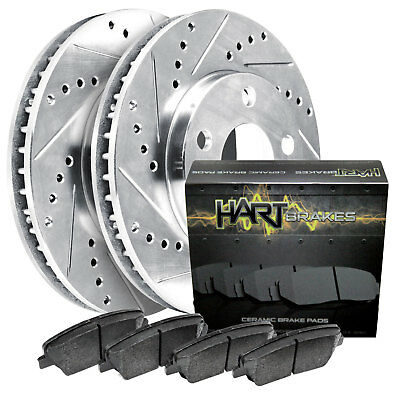 [FRONT KIT]Platinum Hart *DRILLED & SLOTTED* Brake Rotors +CERAMIC Pads- 1069
