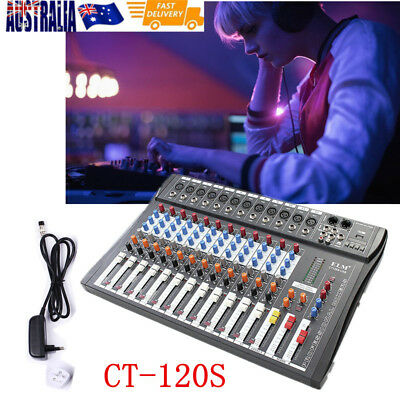 CT-120S 12 Channel Professional Live Studio Audio Mixer Sound Mixing DJ With USB