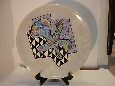 Large Roger McAndrews Studio Handcrafted Plate. Fantasy Contemporary.