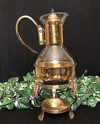 Glass and Brass CARAFE, Princess House Tea/Coffee Warmer w/Floral Design VINTAGE