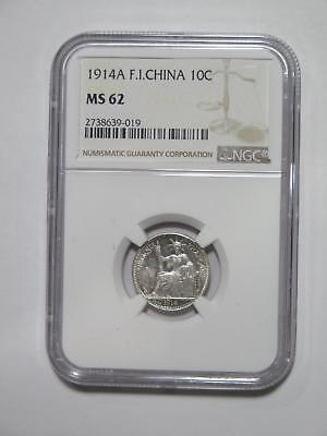 French Indo China 1914 A 10 Cents Toned Ngc Ms62 Old World Coin Collection Lot