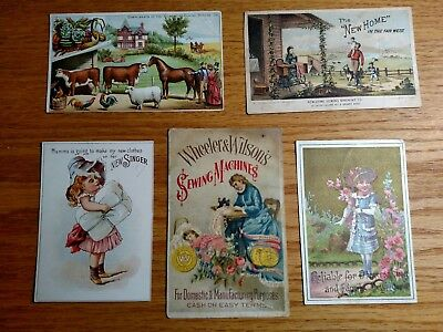 Vintage Singer Domestic Wheeler Wilson New Home Sewing Machine Trade Cards