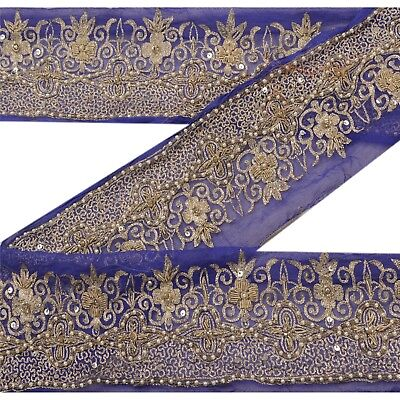 Sanskriti Vintage Sari Border Antique Hand Beaded 1 YD Indian Trim Sewing Blue