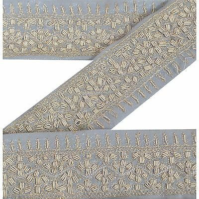 Vintage Sari Border Antique Hand Embroidered 1 YD Indian Trim Ribbon Grey Lace