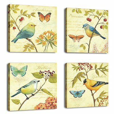 ! Framed Vintage Bird Flowers Natural Canvas Art Print Picture Wall Home Decor