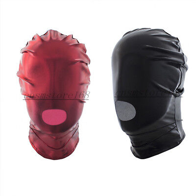 PVC Wet Look Dungeon Wheel Open Mouth Full Head Hood Mask Blindfold Roleplay