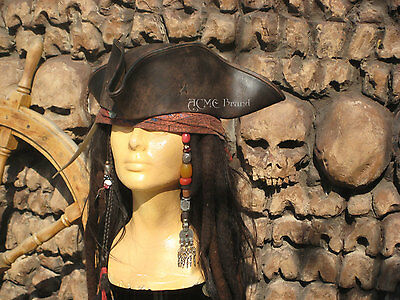 BEST Jack SPARROW leather TRICORN Tricorner hat pirate Costume Large Pix Inside