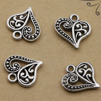 30pcs Antique Bronze Silver Alloy Hollow Heart Charms Pendants Findings Crafts