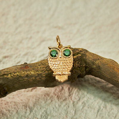 .925 Sterling Silver Owl Lovers, Gold Bird Pendant