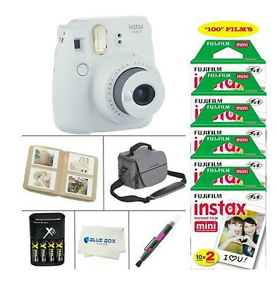 Fujifilm Mini 9 Instant Film Camera (Smokey White)+100 Film Sheets + Accessories