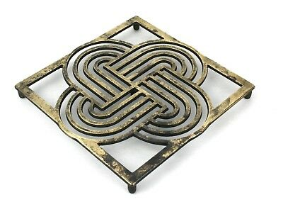 Early 20th C. Solid Brass Trivet Pot Stand Geometric Design Art Deco
