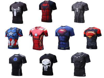 Super Hero Marvel Men Compression Shorts T-shirt Gym Sports Fitness Cycling