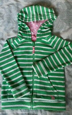 Mini Boden girls towelling green white zip hooded 3-4y