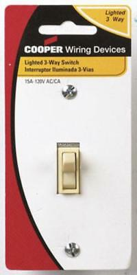 Cooper Wiring C1303-7LTV 3-Way Lighted Grounding Quiet Toggle Switch, 15A/120V