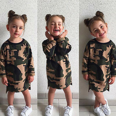Baby Girls Kids Dresses Long Sleeve Autumn Winter Camouflage Dress Clothes 1-6Y