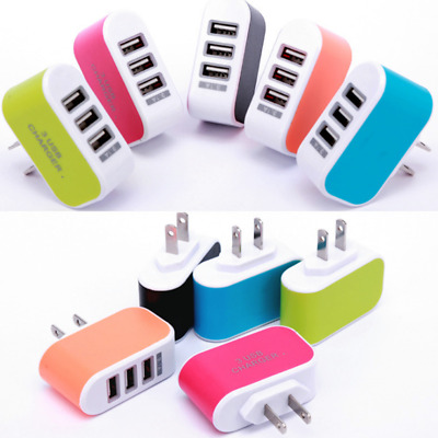 110V-220V 3-Port USB Wall Charger Adapter Candy Color For Mobile Phone Pad