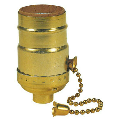 "Westinghouse 70431 Medium Base 3-Way Pull Chain Lamp Socket, 2-1/4"", Brass"