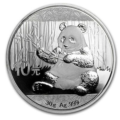 Chinese Mint China ¥ 10 Yuan Panda 2017 30 g gram .999 Silver Coin (about 1 oz )