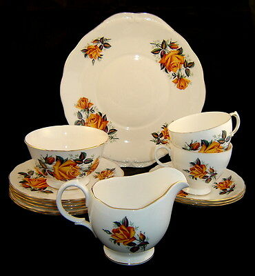 CROWN ROYAL Bone China Harvest Golden Rose Floral Pattern Mixed 14-pc Lot