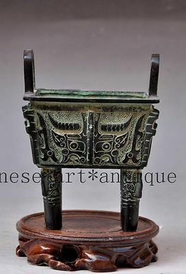 Collectible old chinese tibet buddhism bronze beast Tripod statue Incense Burner