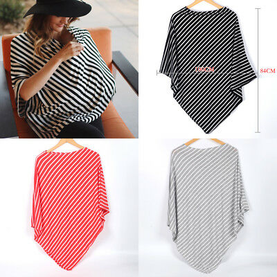 Mum Breastfeeding Cover Nursing Poncho Stripes Baby Seat Stroller Shawl Cover Up