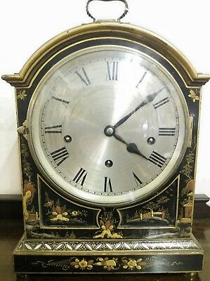 French Antique Chinoiserie lacquered bracket clock